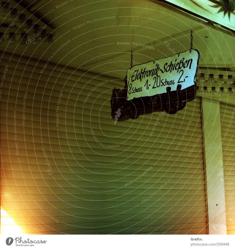 Die Ruhe vor dem Dom gelb 2 braun gold Freizeit & Hobby geschlossen Schilder & Markierungen retro Neugier Ende Werbung Jahrmarkt Vorfreude stagnierend Präzision