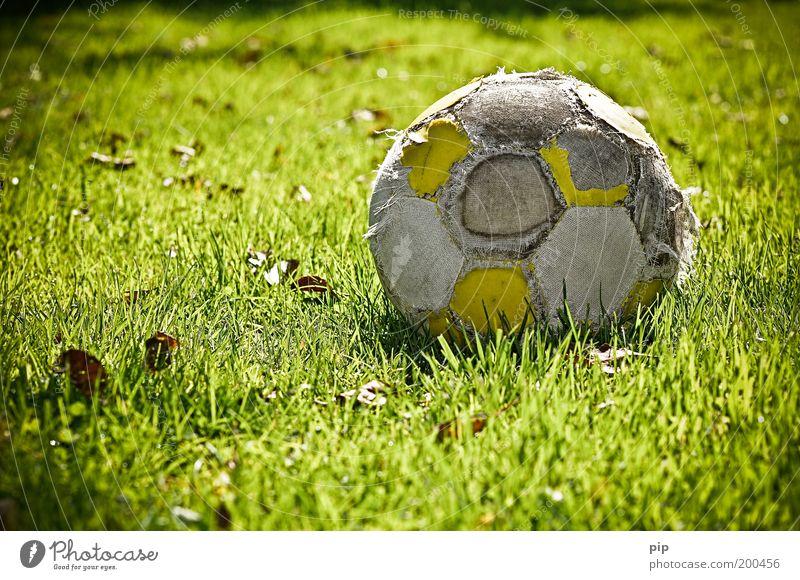 der letzt kick Natur alt grün Freude Einsamkeit Sport Gras Kindheit Freizeit & Hobby Fußball kaputt Vergänglichkeit Ball Sportrasen Verfall