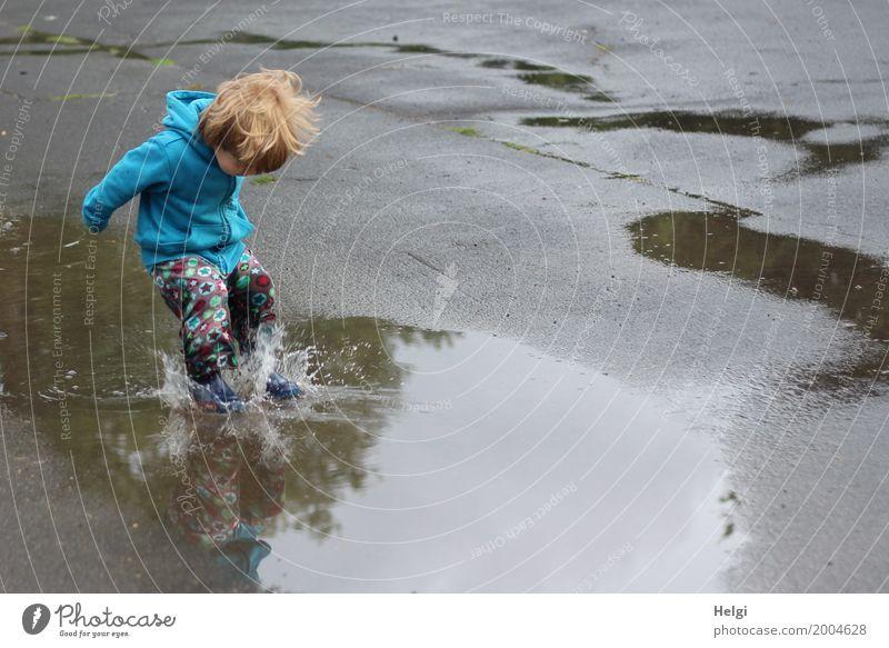 kleiner Junge mit bunter Hose und blauer Jacke springt mit Schwung in eine Pfütze Mensch maskulin Kleinkind Kindheit 1 1-3 Jahre Umwelt Wasser Sommer Bekleidung