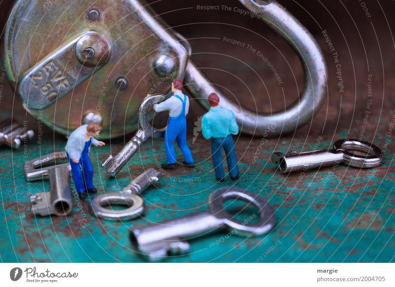 Miniwelten - Schlüssel Dienst Mensch Mann blau Erwachsene Arbeit & Erwerbstätigkeit maskulin Technik & Technologie Baustelle Team Beruf türkis