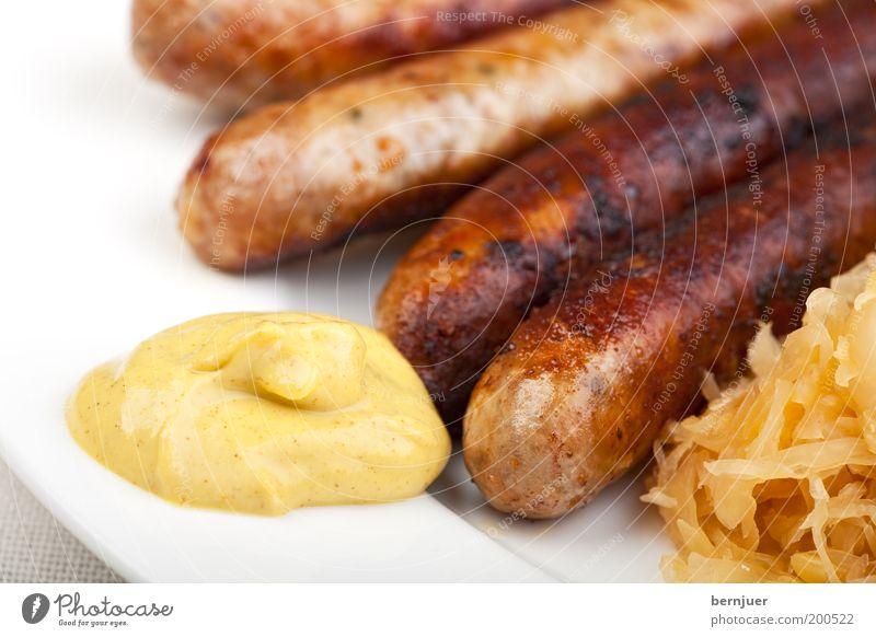 Bradwerscht Bratwurst gebraten Wurstwaren Sauerkraut Ernährung Lebensmittel Snack Teller Fett Vesper Imbiss Würstchen Fränkisch Spezialitäten Krautsalat Senf