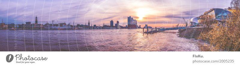 Hamburg-Panorama vom Südufer | 555 Himmel Stadt Wasser Sonne Frühling Gebäude Deutschland Tourismus Stimmung Schönes Wetter Fluss Bauwerk violett
