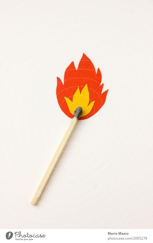 Vorsicht Feuer Streichholz Flamme leuchten bedrohlich heiß modern gelb Erfolg gefährlich Energie Collage Explosion Grafik u. Illustration Symbole & Metaphern