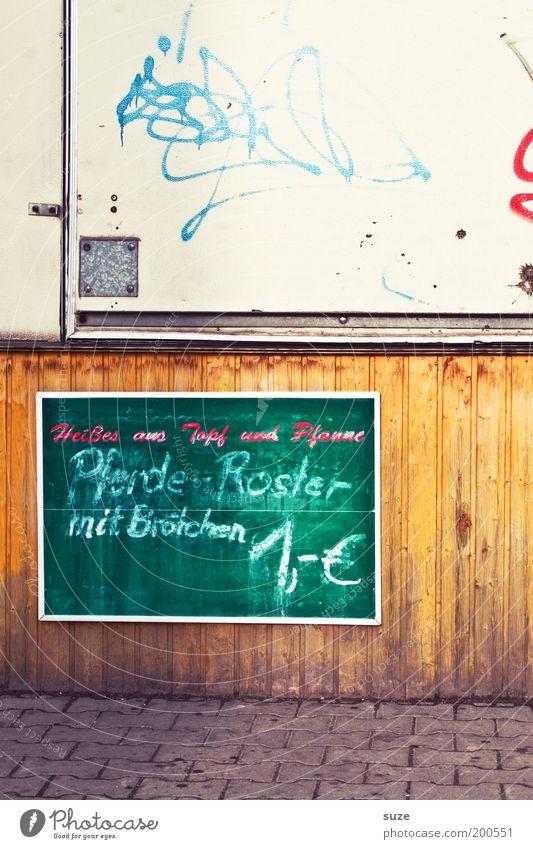 Angebot Fleisch Wurstwaren Brötchen Mittagessen Fastfood Lifestyle Imbiss Gastronomie Mauer Wand Holz Schriftzeichen Schilder & Markierungen Tafel trashig trist