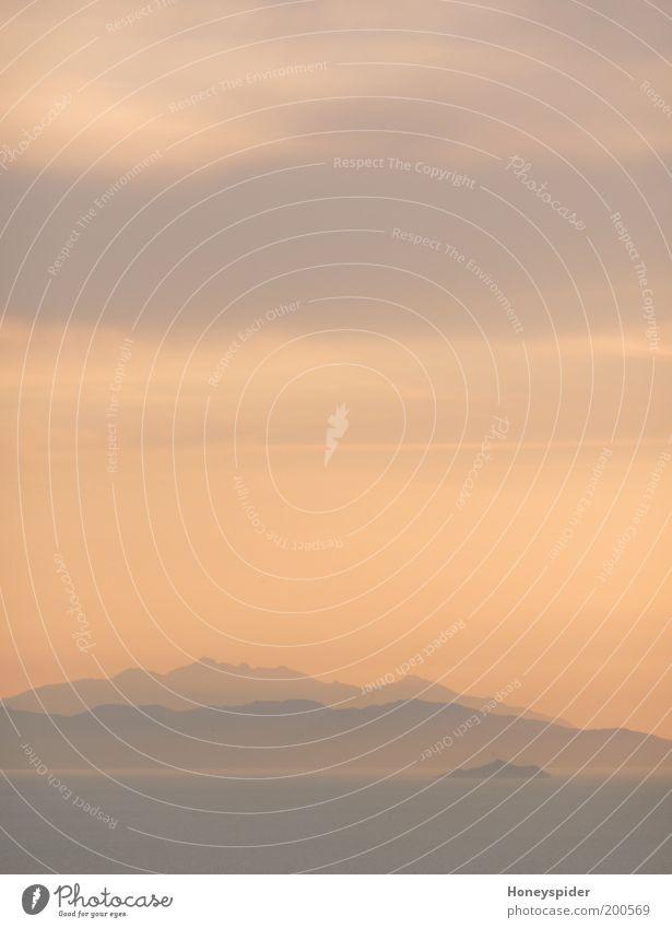 Isla Morgana Natur Wasser Himmel Meer ruhig Einsamkeit gelb Ferne Berge u. Gebirge Freiheit grau Landschaft Stimmung Küste Nebel ästhetisch