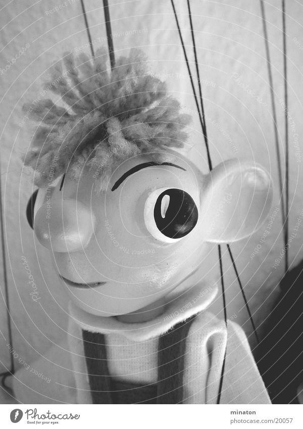 Hurvinek Marionette Porträt Grauwert Freizeit & Hobby Puppe Makromodus