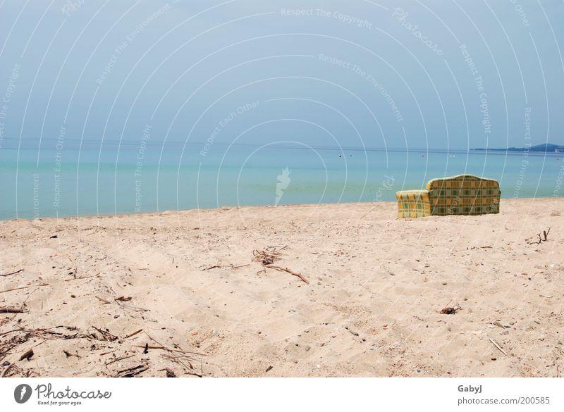 Relaxt - relaxter - am relaxesten Meer Strand Ferien & Urlaub & Reisen ruhig Ferne Erholung Sand Horizont Aussicht Freizeit & Hobby Sofa Schönes Wetter Möbel Griechenland Kunstwerk