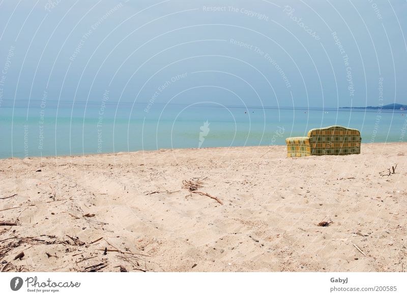Relaxt - relaxter - am relaxesten Meer Strand Ferien & Urlaub & Reisen ruhig Ferne Erholung Sand Horizont Aussicht Freizeit & Hobby Sofa Schönes Wetter Möbel