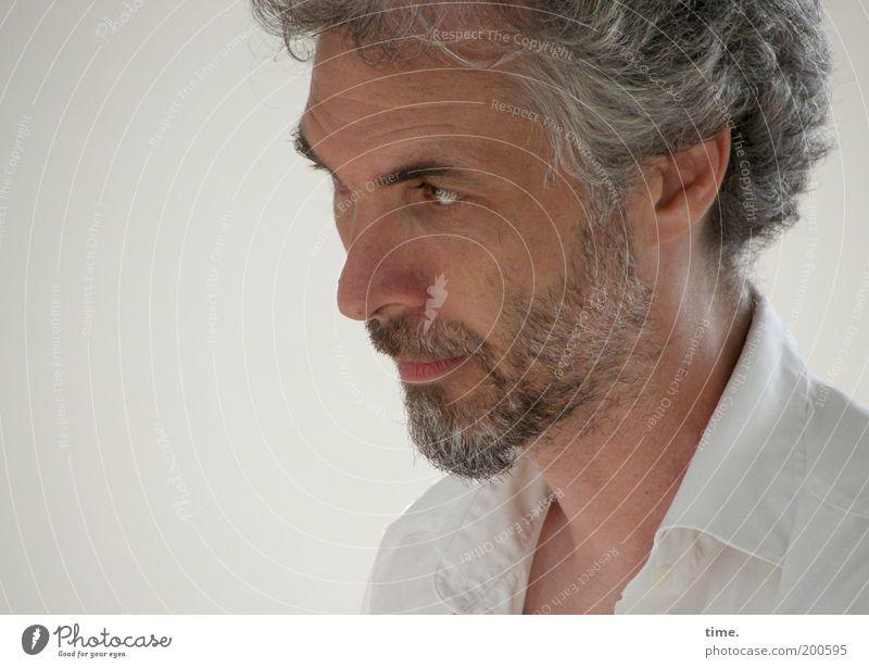 Raumpatrouille Mann Erwachsene Haare & Frisuren grau maskulin nachdenklich beobachten Ohr Konzentration Locken Hemd Bart Wachsamkeit Vollbart Kragen Mensch
