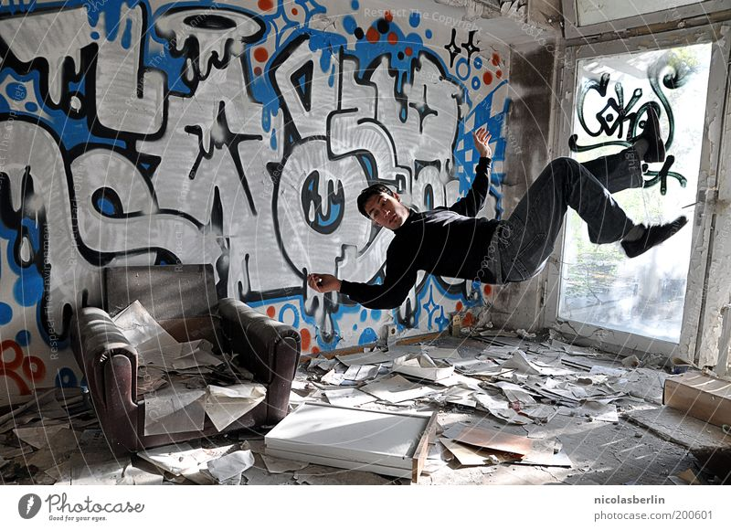 If You Fall Hard... harmonisch maskulin 1 Mensch 18-30 Jahre Jugendliche Erwachsene Mauer Wand Papier Graffiti fallen fliegen springen frei verrückt Stimmung