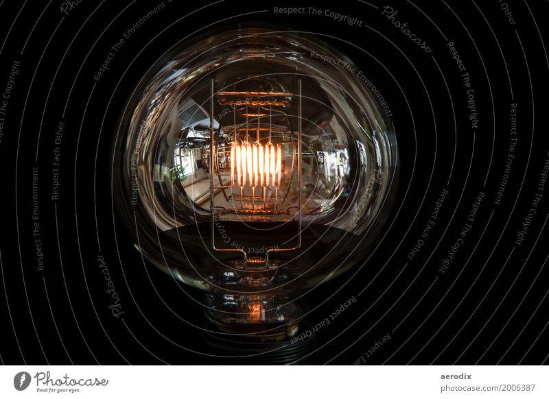 große Glühbirne mit glühendem Glühfaden und Spiegelungen Energiewirtschaft Glas glänzend Wärme alt antik Lampe Reflektion Reflexion & Spiegelung Licht schwarz