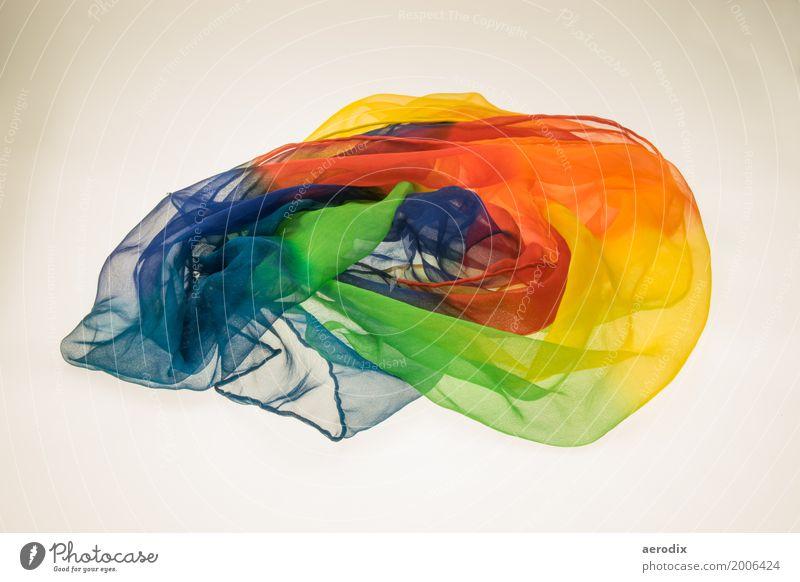 Bunter Schal in Regenbogenfarben blau Farbe schön rot Einsamkeit Hintergrundbild Stil Mode orange Dekoration & Verzierung Stoff durchsichtig Textilien Schleife