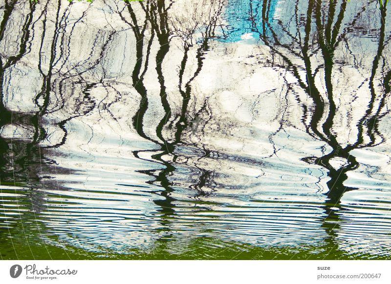 Illusion Ferien & Urlaub & Reisen Ausflug Freiheit Wellen Kunst Gemälde Wasser Himmel Wolken Baum Teich See Linie Flüssigkeit kalt blau Kanal Hintergrundbild