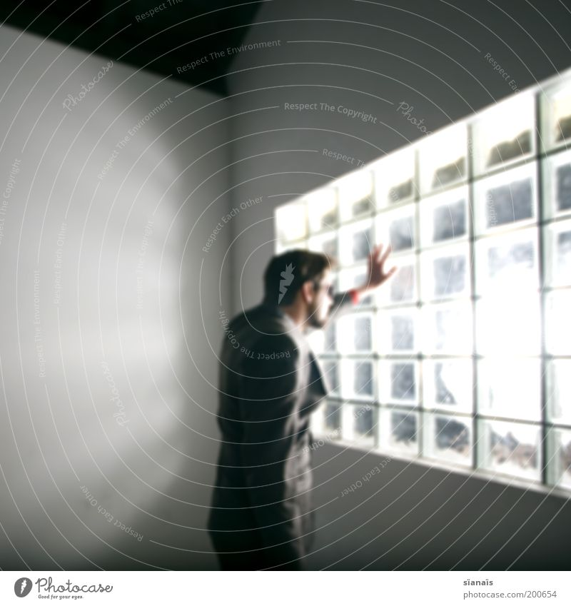 softbox Mensch Mann Jugendliche Stil Fenster Erwachsene Glas maskulin elegant Lifestyle Coolness stehen fangen Blick Anzug trashig