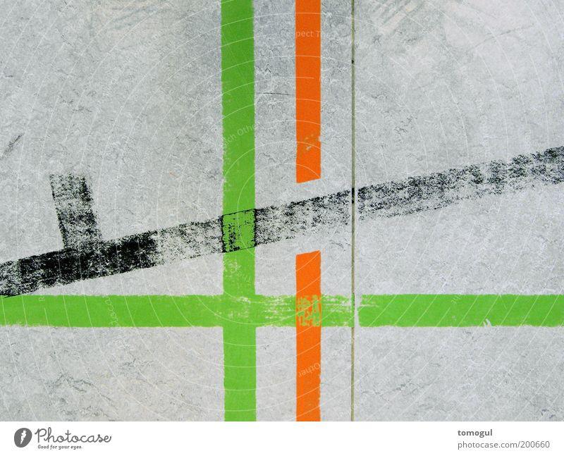 Schule der Linienbetrachtung grün rot grau Schilder & Markierungen Streifen Kunst Grafik u. Illustration Textfreiraum links graphisch abstrakt Kultur Durchbruch
