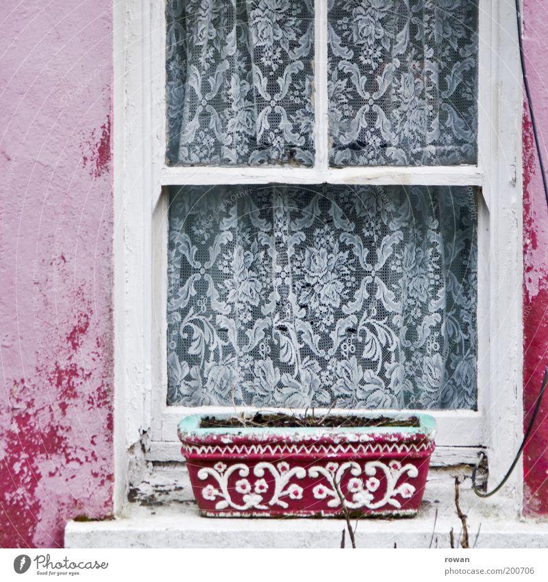 rosa fenster Fassade Fenster weiß Vorhang Zierde Dekoration & Verzierung alt schäbig gestrichen Fensterbrett retro Farbfoto Außenaufnahme Menschenleer Tag