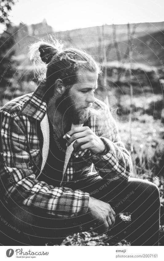bw Mensch Jugendliche Junger Mann 18-30 Jahre Erwachsene maskulin Coolness trendy Rauchen Hipster 30-45 Jahre