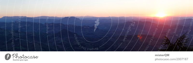 Blick von San Marino. Kunst ästhetisch Panorama (Bildformat) Panorama (Aussicht) Panoramakamera Italien Horizont Sonnenuntergang Idylle Weitwinkel Ferne