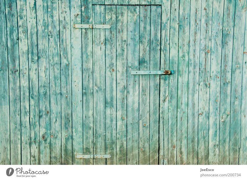 besetzt! blau Haus Stil Garten Holz Tür geschlossen einfach Häusliches Leben Bauernhof Dorf Holzbrett Scheune Holzhaus Scharnier Scheunentor