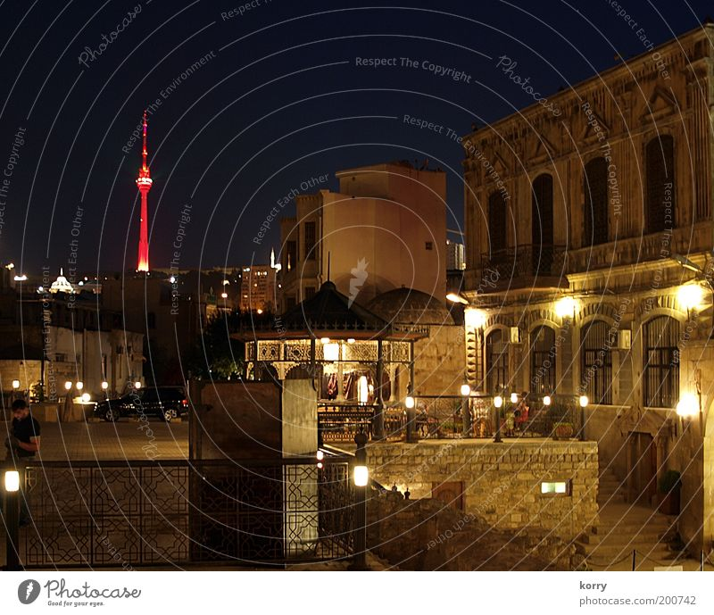 schön Haus Gebäude Platz Turm Asien Denkmal Bauwerk Hauptstadt Altstadt Kunst Stadt Baku Aserbaidschan