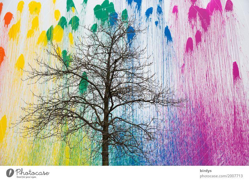 Farbverlauf-Das Hintergrundwissen stimmt zuversichtlich.. Design Kunst Jugendkultur Herbst Winter Baum Mauer Wand Fassade Graffiti Farbenwelt leuchten Wachstum