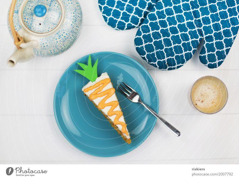 Rüblikuchen Lebensmittel Teigwaren Backwaren Kuchen Kaffeetrinken Fröhlichkeit frisch Gesundheit lecker saftig süß Karottenkuchen Möhre Farbfoto mehrfarbig