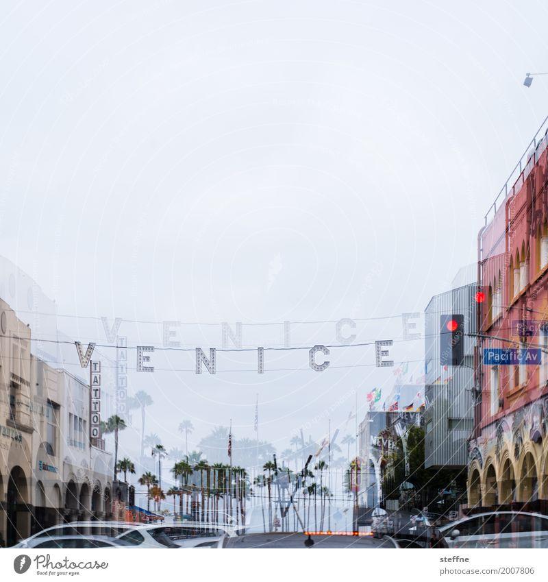VENICE Stadt venice beach Los Angeles Kalifornien Doppelbelichtung Ampel Farbfoto Außenaufnahme Menschenleer Textfreiraum oben