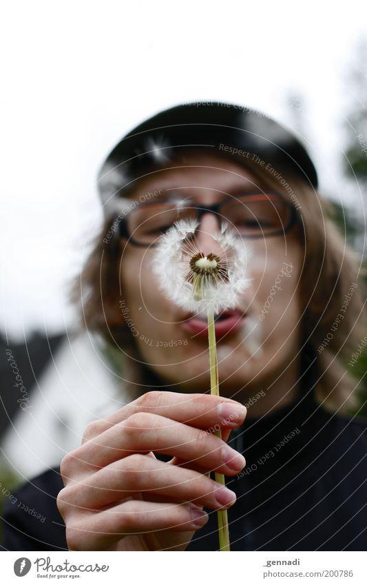 Naseweis Hand Jugendliche Blume Pflanze Freude Leben Spielen Kopf lustig Erwachsene maskulin Fröhlichkeit Brille Löwenzahn blasen atmen