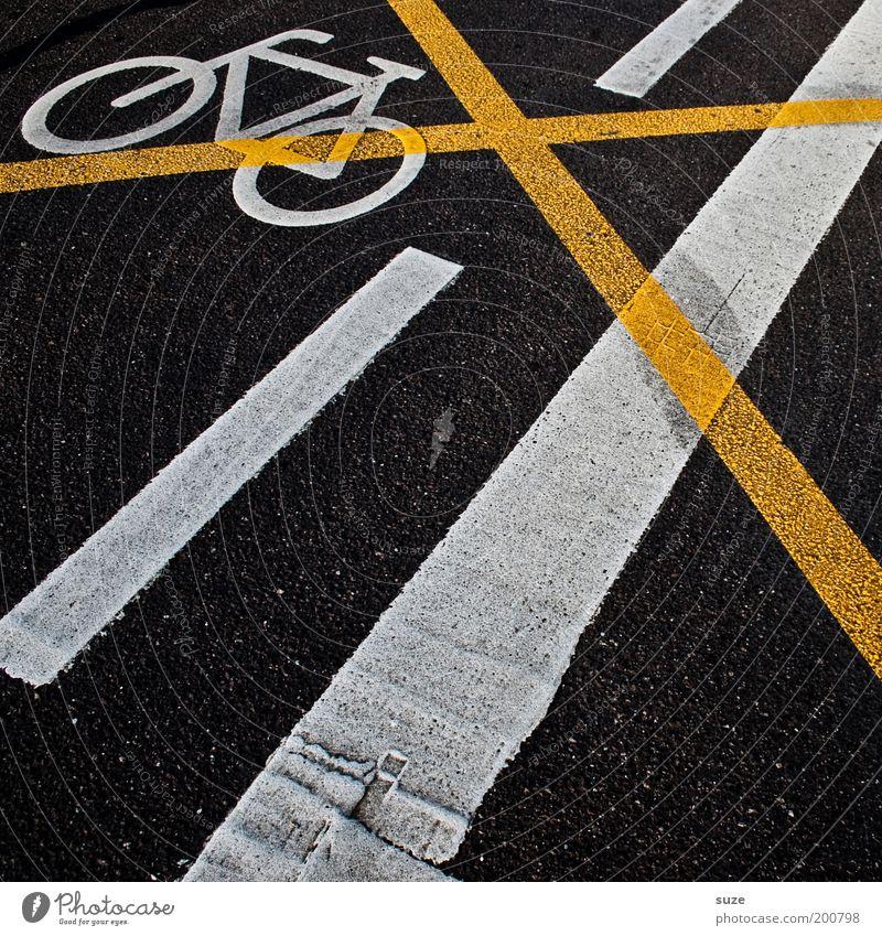 Verbot Fahrrad Baustelle Verkehr Straßenverkehr Zeichen Schilder & Markierungen Verkehrszeichen Kreuz Linie Streifen bedrohlich dreckig trashig gelb schwarz