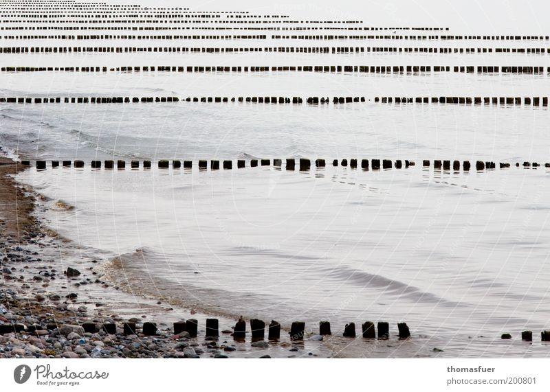 immer der Reihe nach! Natur Wasser Meer Sommer Strand Ferien & Urlaub & Reisen ruhig Einsamkeit grau Luft Küste Wellen trist Langeweile Urelemente