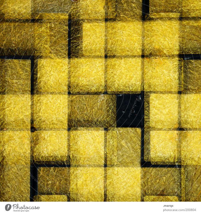 Gap schwarz gelb Stil Linie Glas Hintergrundbild Design verrückt Lifestyle außergewöhnlich Doppelbelichtung Raster Lücke kariert abstrakt