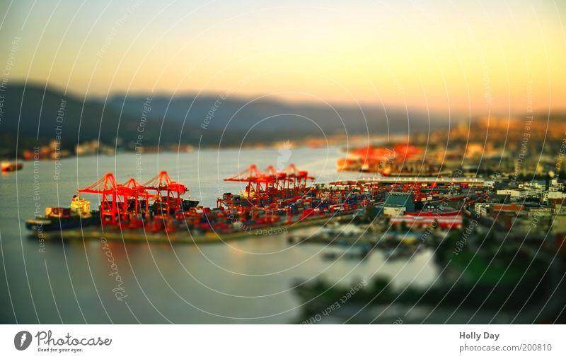 Hafen Vancouver Industrie Kran Landschaft Wasser Wolkenloser Himmel Sonnenaufgang Sonnenuntergang Sommer Schönes Wetter Kanada Hafenstadt Industrieanlage