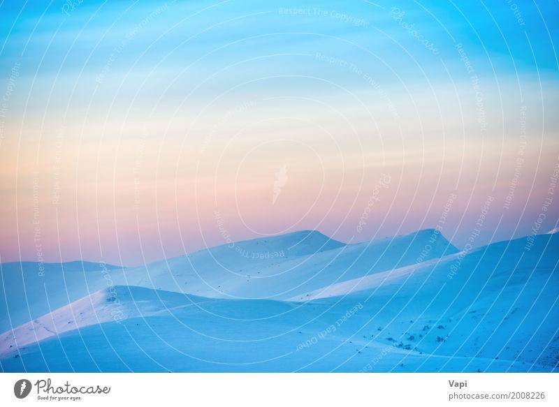 Landschaft mit Sonnenuntergang über Hügeln Himmel Natur Ferien & Urlaub & Reisen blau schön weiß rot Wolken Winter Berge u. Gebirge Umwelt gelb natürlich Schnee
