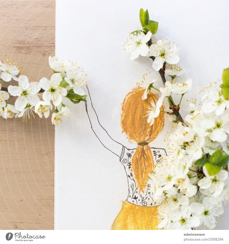 Spring Freizeit & Hobby Basteln Feste & Feiern Ostern feminin Haare & Frisuren Natur Pflanze Frühling Blüte langhaarig Zopf Papier Dekoration & Verzierung Zweig