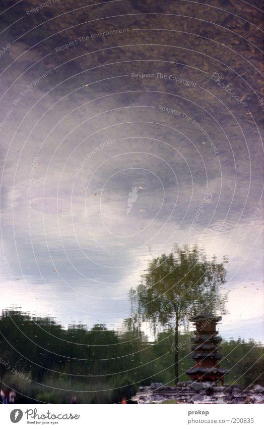 Im Osten nix Neues Umwelt Natur Landschaft Pflanze Wasser Himmel Wolken Baum Seeufer Teich Turm Bauwerk Flüssigkeit natürlich schön Chinesisch Schwarzweißfoto