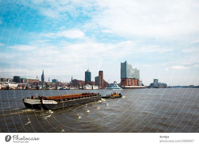 Hamburger Hafen und die Elphi Himmel Ferien & Urlaub & Reisen Stadt Architektur Bewegung Tourismus Freizeit & Hobby ästhetisch Erfolg authentisch Kultur Fluss