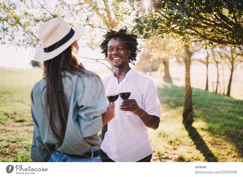 Jugendliche Junge Frau Sommer grün Junger Mann Freude Paar Zusammensein Freundschaft Park Lächeln Fröhlichkeit trinken Partnerschaft Zuprosten