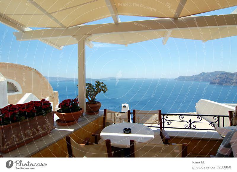 Griechische Aussicht Wasser Himmel Meer blau Freude Ferien & Urlaub & Reisen Ferne Erholung Stil Zufriedenheit Stimmung elegant Horizont Lifestyle ästhetisch