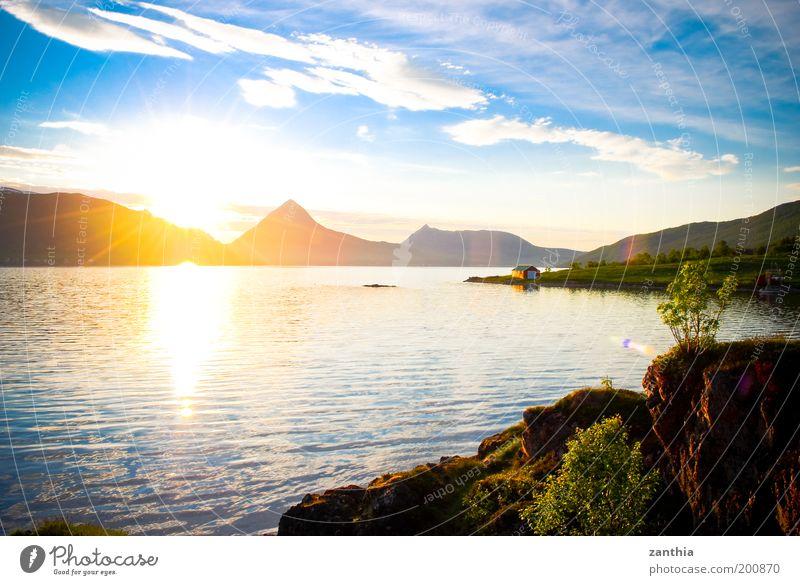 Mitternachtssonne Natur Wasser Himmel Sonne Meer Pflanze Sommer Ferien & Urlaub & Reisen Wolken Erholung Berge u. Gebirge Landschaft Luft Zufriedenheit Stimmung Küste