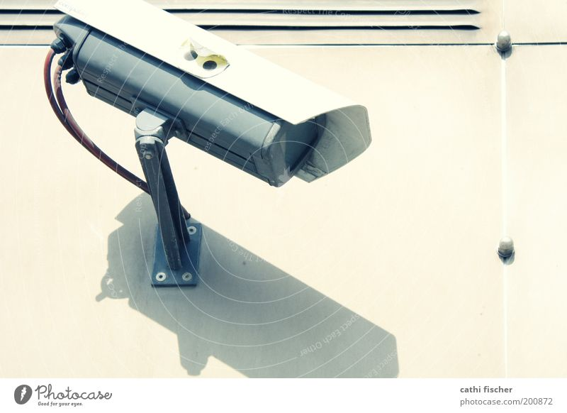 kontrolle Videokamera Kabel Technik & Technologie Fortschritt Zukunft Informationstechnologie Mauer Wand beobachten Sicherheit Wachsamkeit Zukunftsangst