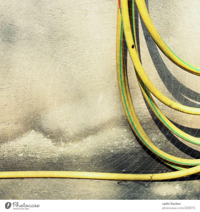 aufgerollt alt grün gelb Wand Mauer dreckig nass Beton Kunststoff feucht hängen Terrasse Schlauch Wasserschlauch