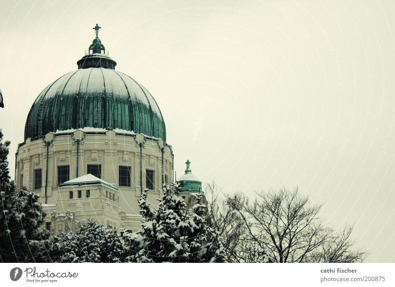 zentralfriedhof/winter III Himmel weiß Baum Winter schwarz gelb kalt Schnee Architektur grau Gebäude Wetter Eis Kirche Frost Bauwerk