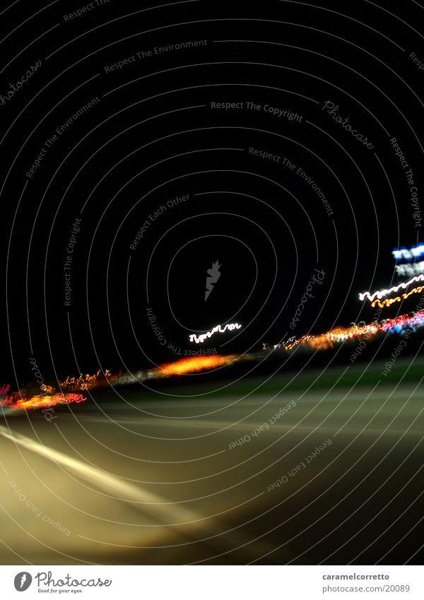 on the road again_01 Nacht Autobahn Geschwindigkeit Langzeitbelichtung Verkehr Straße Licht