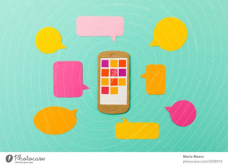 Mobile Marketing & Kommunikation - Handy mit Sprechblasen Lifestyle Telefon PDA Telekommunikation Arbeit & Erwerbstätigkeit Kommunizieren modern neu