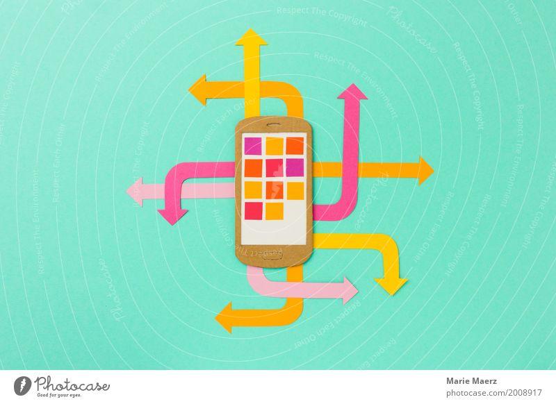 Handy Kommunikation Medienbranche Telekommunikation PDA Pfeil Kommunizieren trendy modern Geschwindigkeit mehrfarbig Tatkraft Stress chaotisch komplex