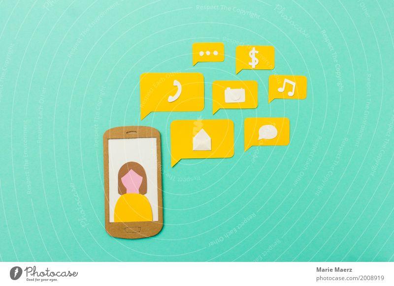 Handy Apps und Kommunikation Mensch Frau Erwachsene gelb Lifestyle sprechen feminin modern Kommunizieren Erfolg Telekommunikation Zukunft Geschwindigkeit kaufen Grafik u. Illustration Telefon