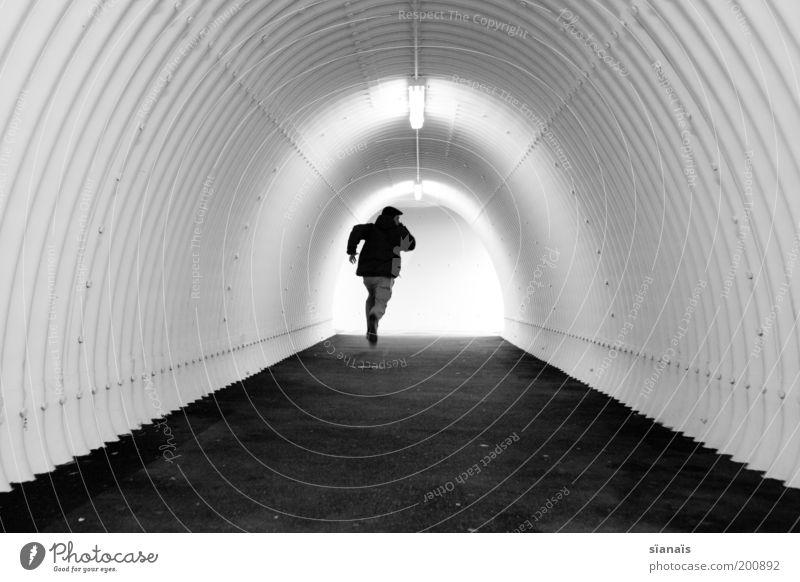 my little runaway Angst laufen Geschwindigkeit Hoffnung einzeln einfach rennen Röhren Stress Tunnel Zukunftsangst Verzweiflung Sorge Flucht Eile Panik