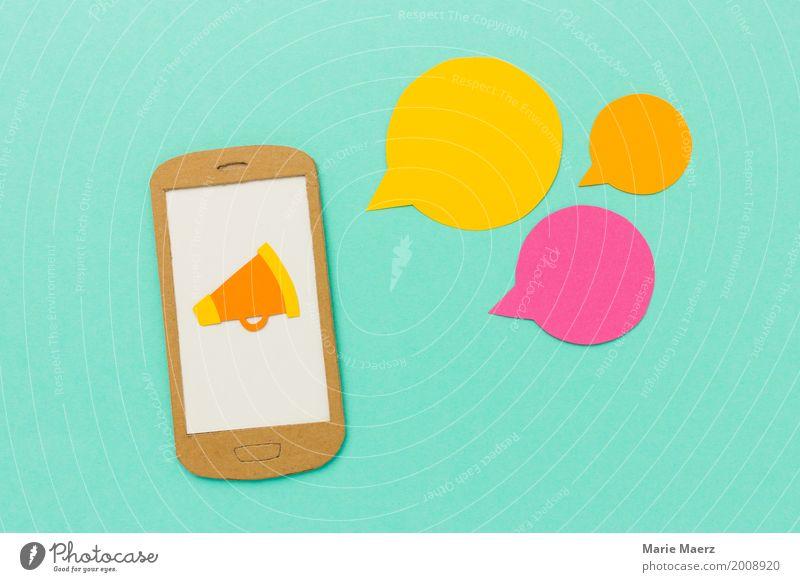 Mobile Marketing mit Megafon und Sprechblasen kaufen Entertainment Medienbranche Werbebranche Handy PDA Neue Medien Kommunizieren schreien frech modern türkis