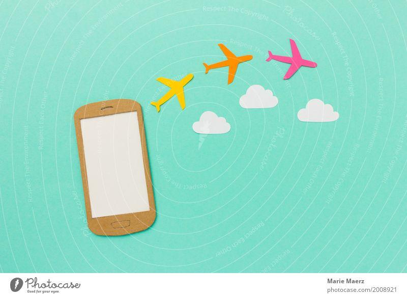Handy - Flug buchen Ferien & Urlaub & Reisen Sommer PDA Internet Luftverkehr Flugzeug fliegen kaufen Coolness trendy modern Vorfreude planen