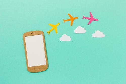 Handy - Flug buchen Ferien & Urlaub & Reisen Sommer Wolken Tourismus fliegen modern Luftverkehr kaufen Flugzeug Coolness planen Internet trendy